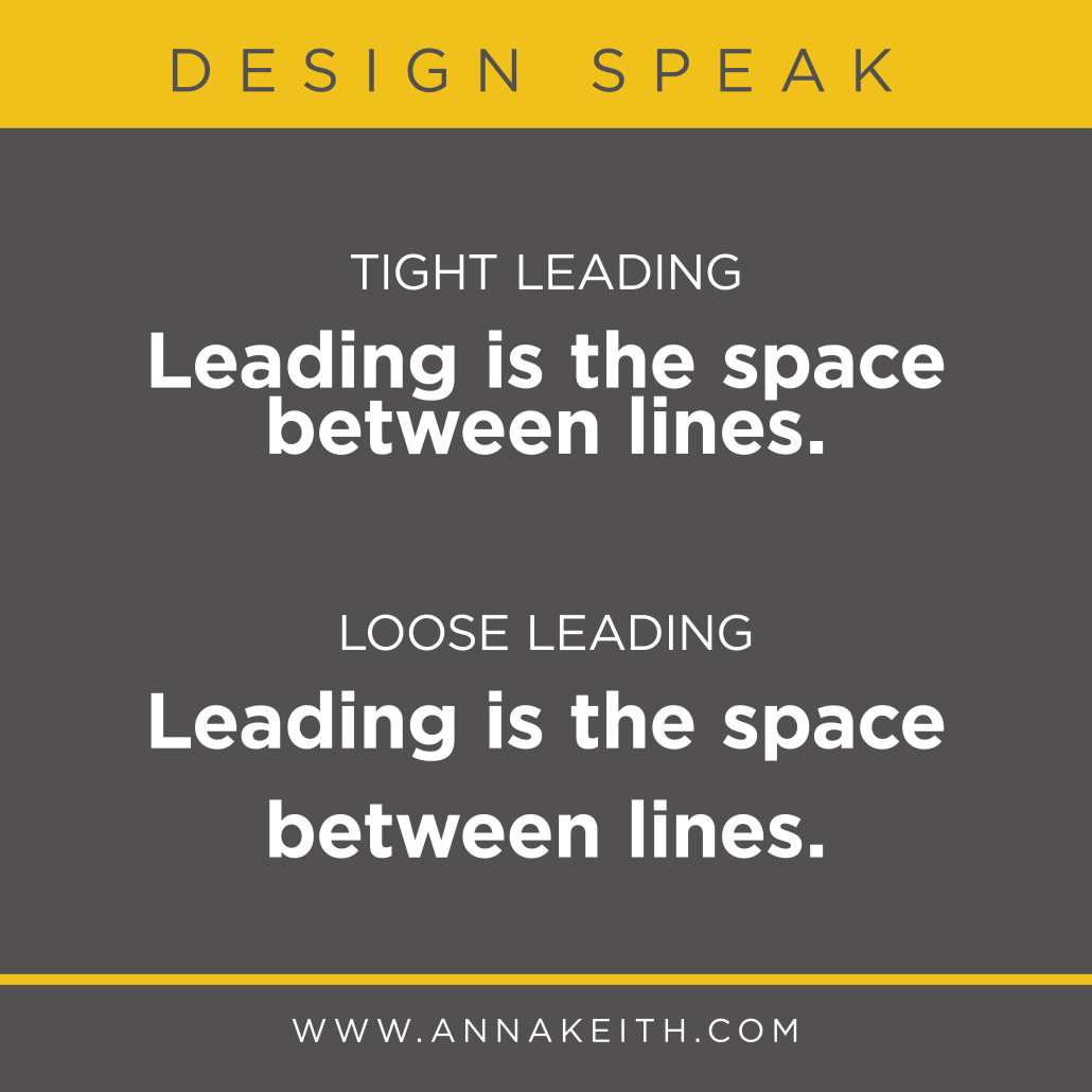 Leading is the space between lines.